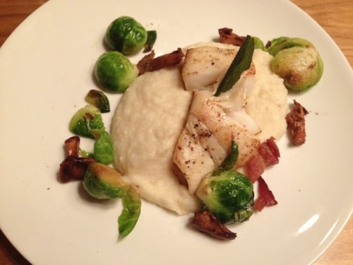 halibut with realllly crispy bacon