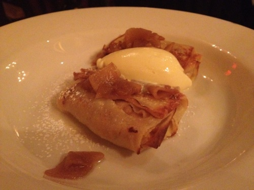 apple crepes with mascarpone ice cream