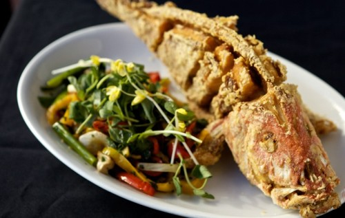fried whole snapper