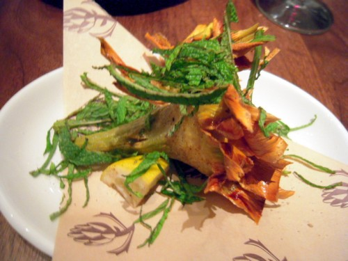 Jewish style artichoke - fried and crisp with lemon