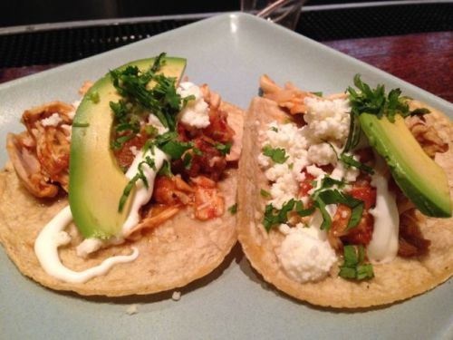 beautiful chicken tinga tacos