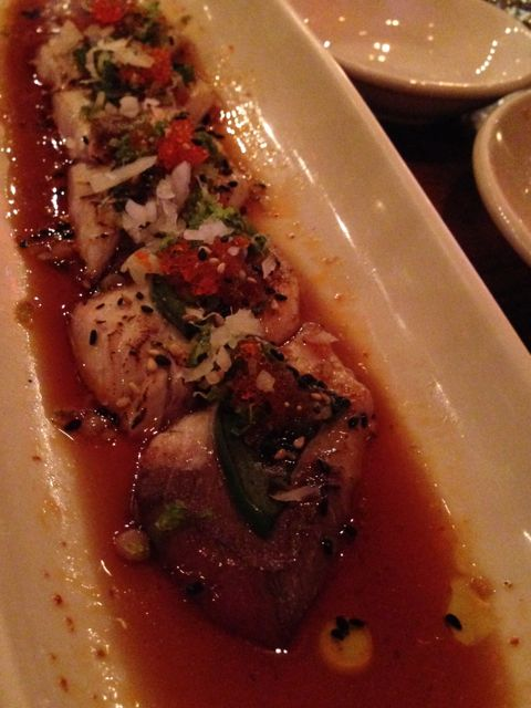 hamachi with garlic ponzu
